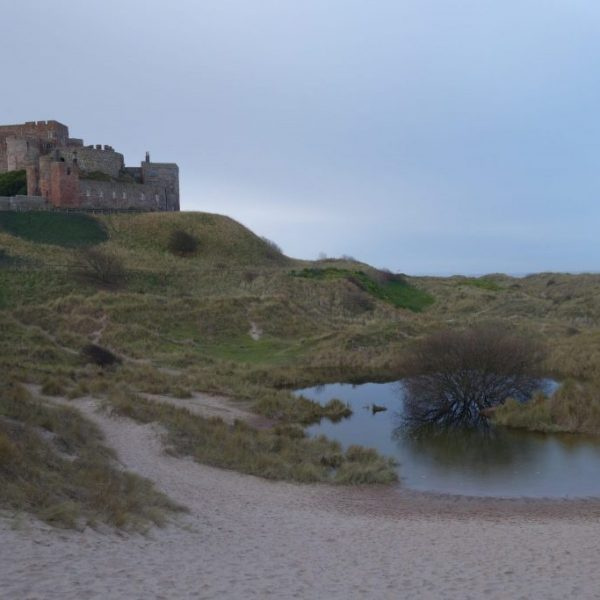 Bamburgh Castle, beach, Northumberland