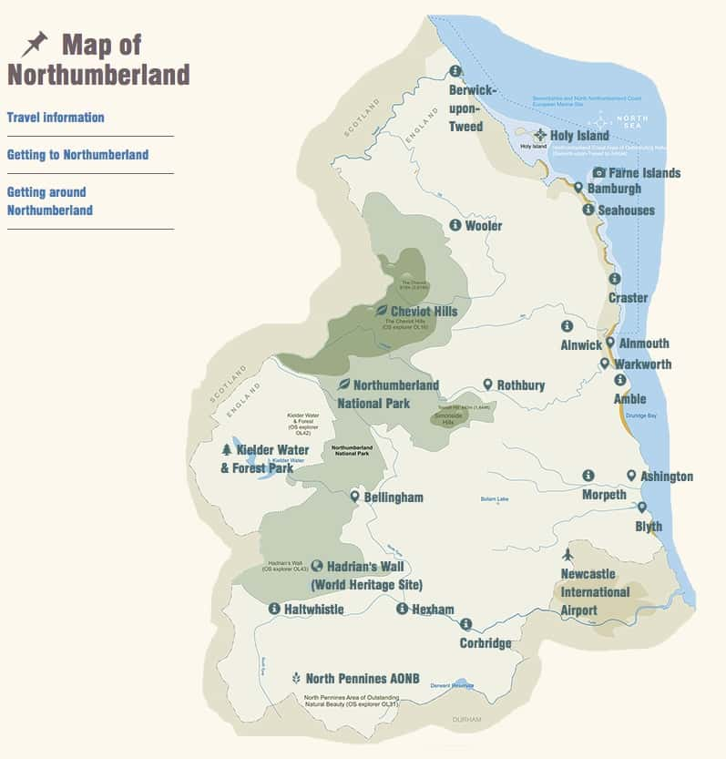 Visit Northumberland Map
