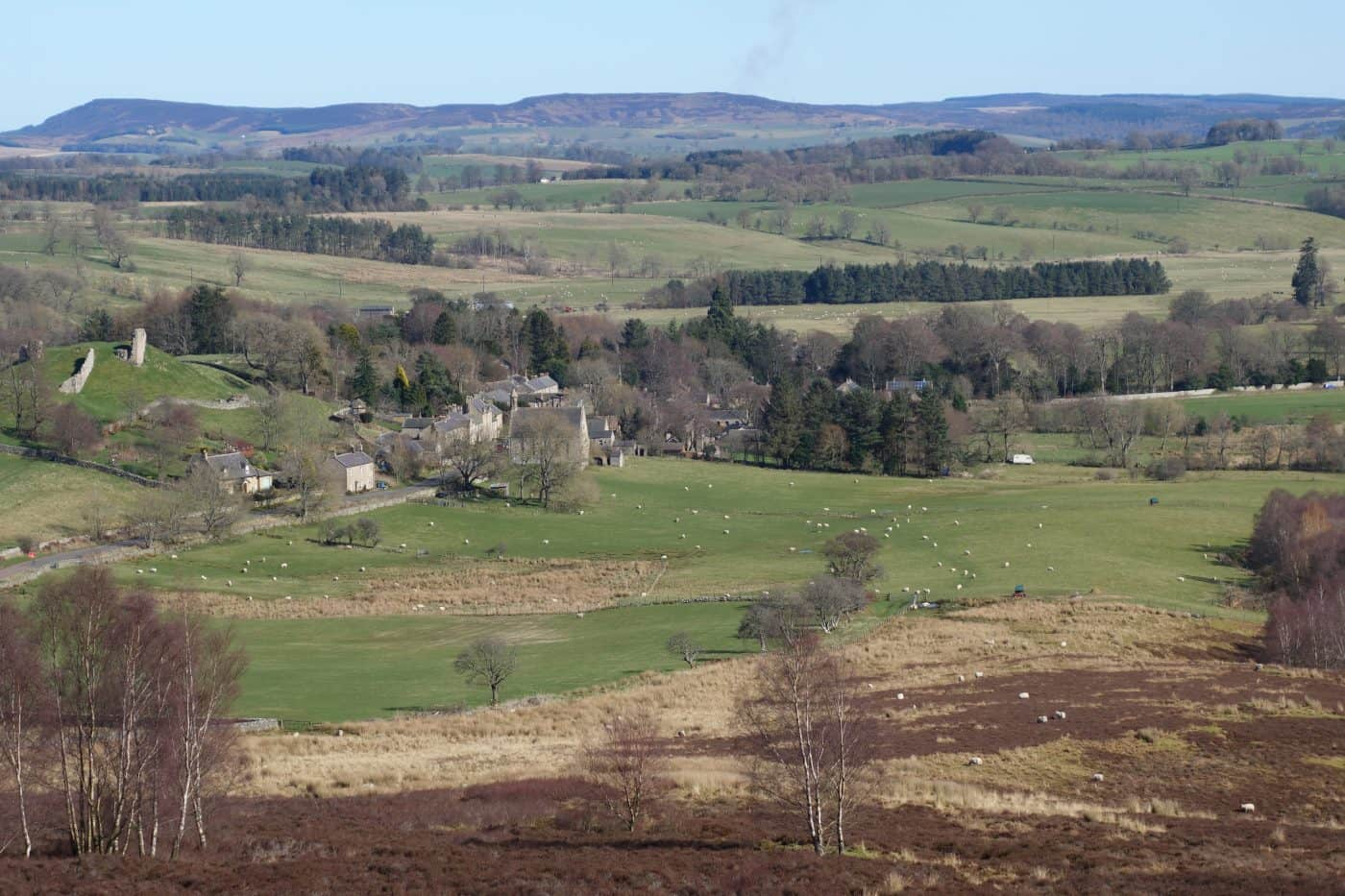 A view of Harbottle from the Drake Stone in Northumberland - Karen's Kottages holiday cottage