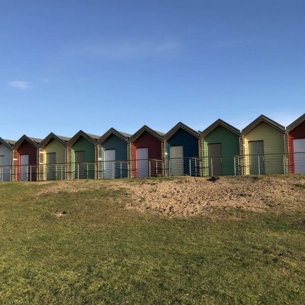 Beach huts at Blyth beach. Karen's Kottages