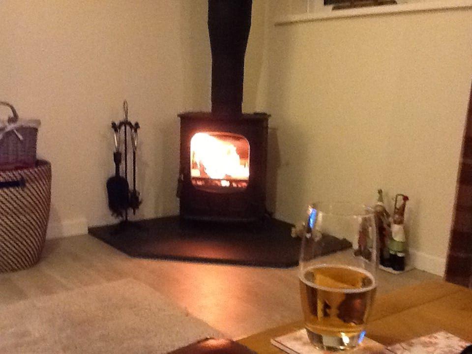 Image of woodburner in Drakestone Cottage at Karen's Kottages