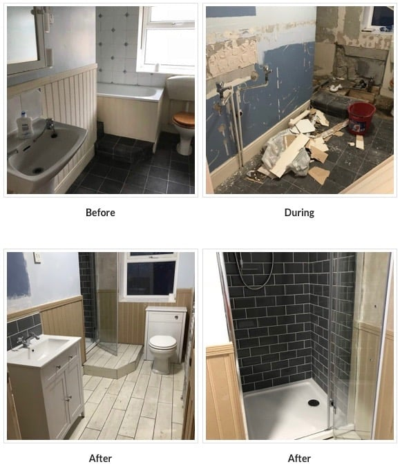 Karen's Kottages - before and after bathroom at Stanegate Cottage in Northumberland