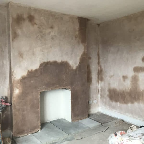 Living room newly plastered at Stanegate Cottage in Northumberland - Karen's Kottages