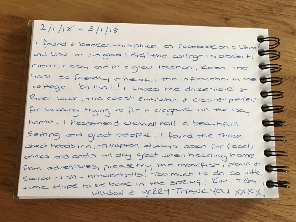 Kim's customer feedback for Drakestone Cottage in Northumberland. Karen's Kottages