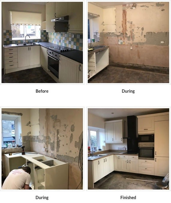 Before during and after. New kitchen in Stanegate Cottage in Northumberland. Karen's Kottages