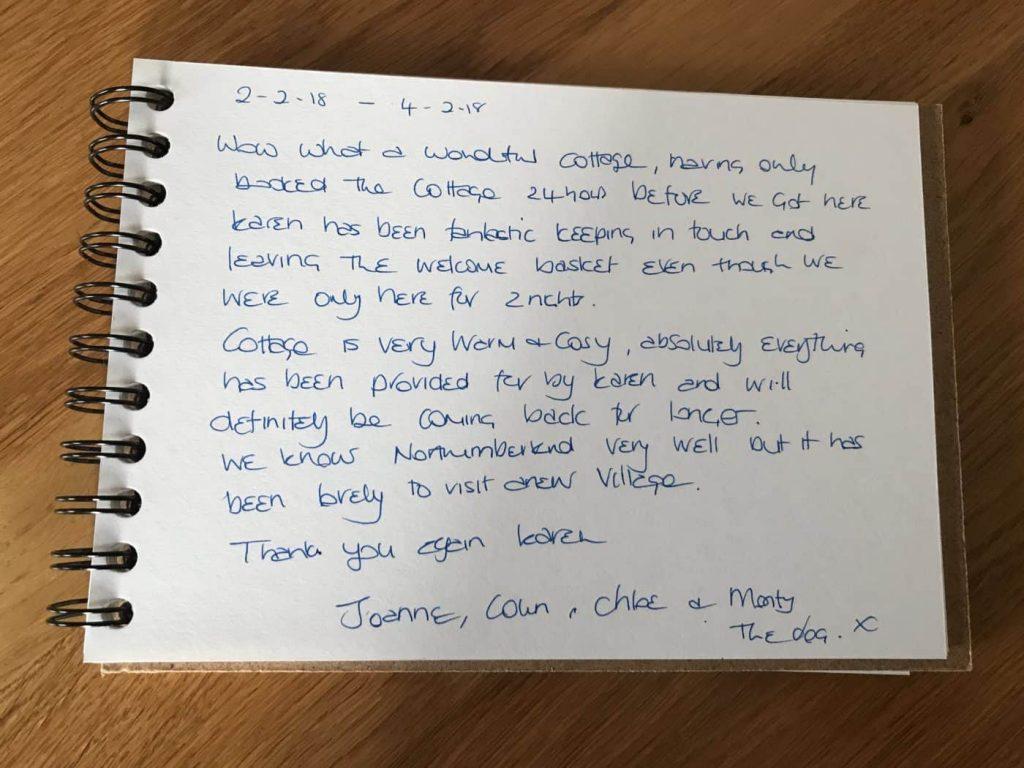 Customer review for Drakestone Cottage in Northumberland - Karen's Kottages