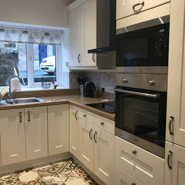 New kitchen at Stanegate Cottage in Northumberland, dog-friendly. Karen's Kottages
