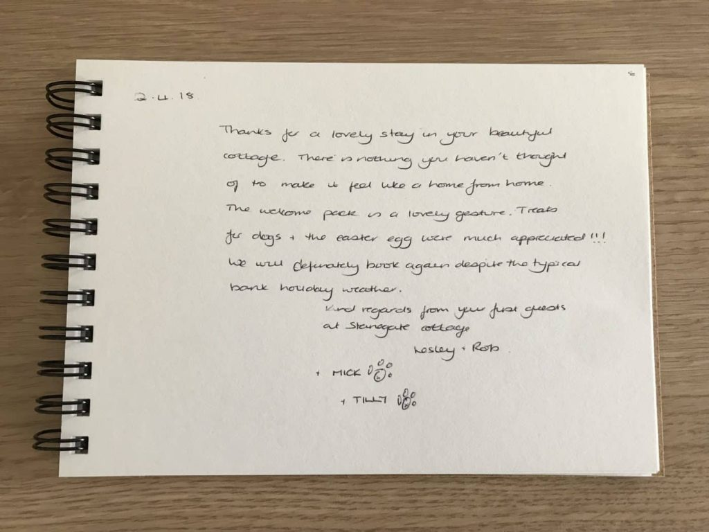 Karen's Kottages - customer feedback in guest book - Stanegate Cottage in Northumberland. Dog friendly cottage