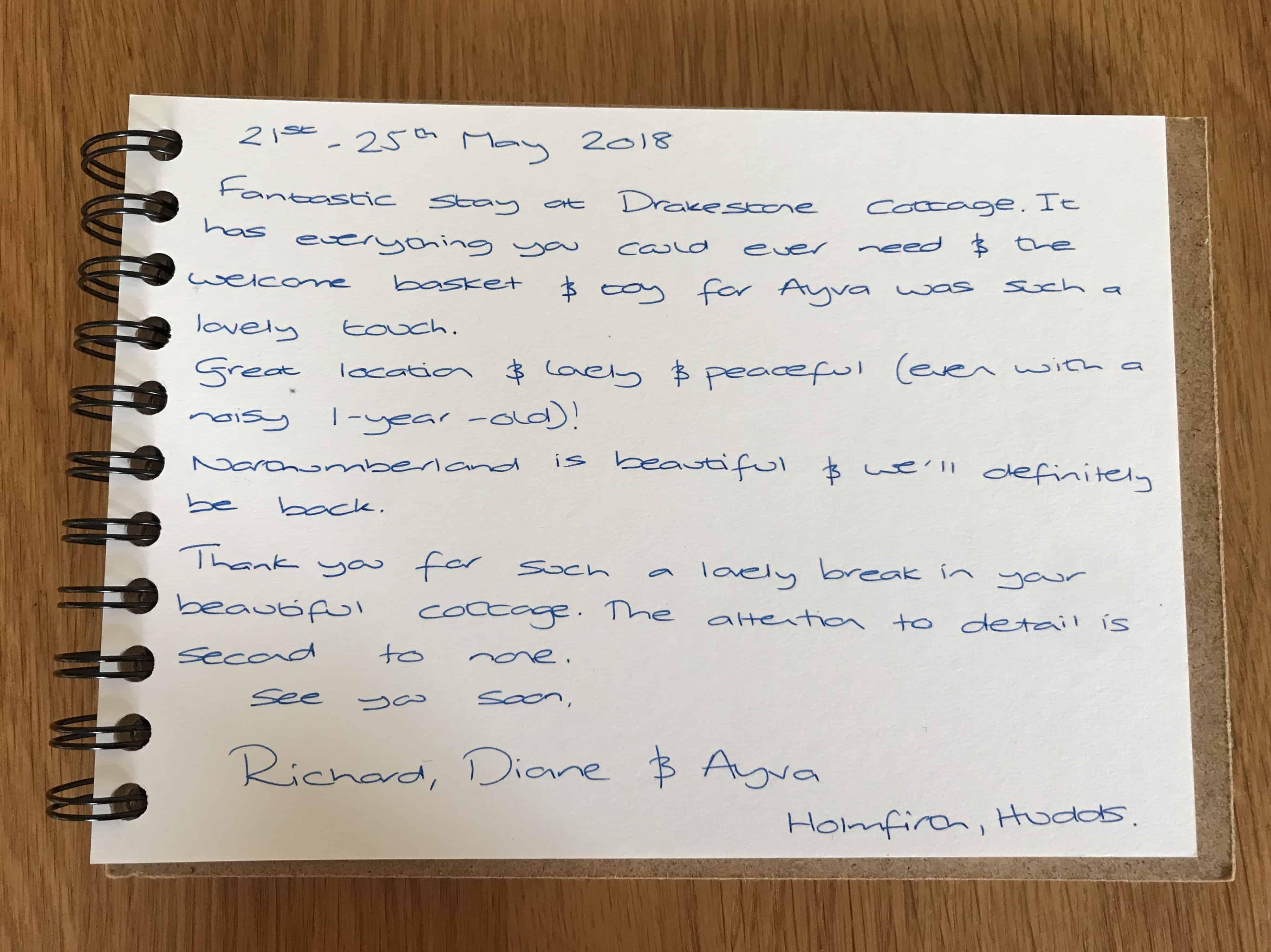 Karens Kottages - Drakestone Cottage in Northumberland - customer feedback - guest book - dog friendly