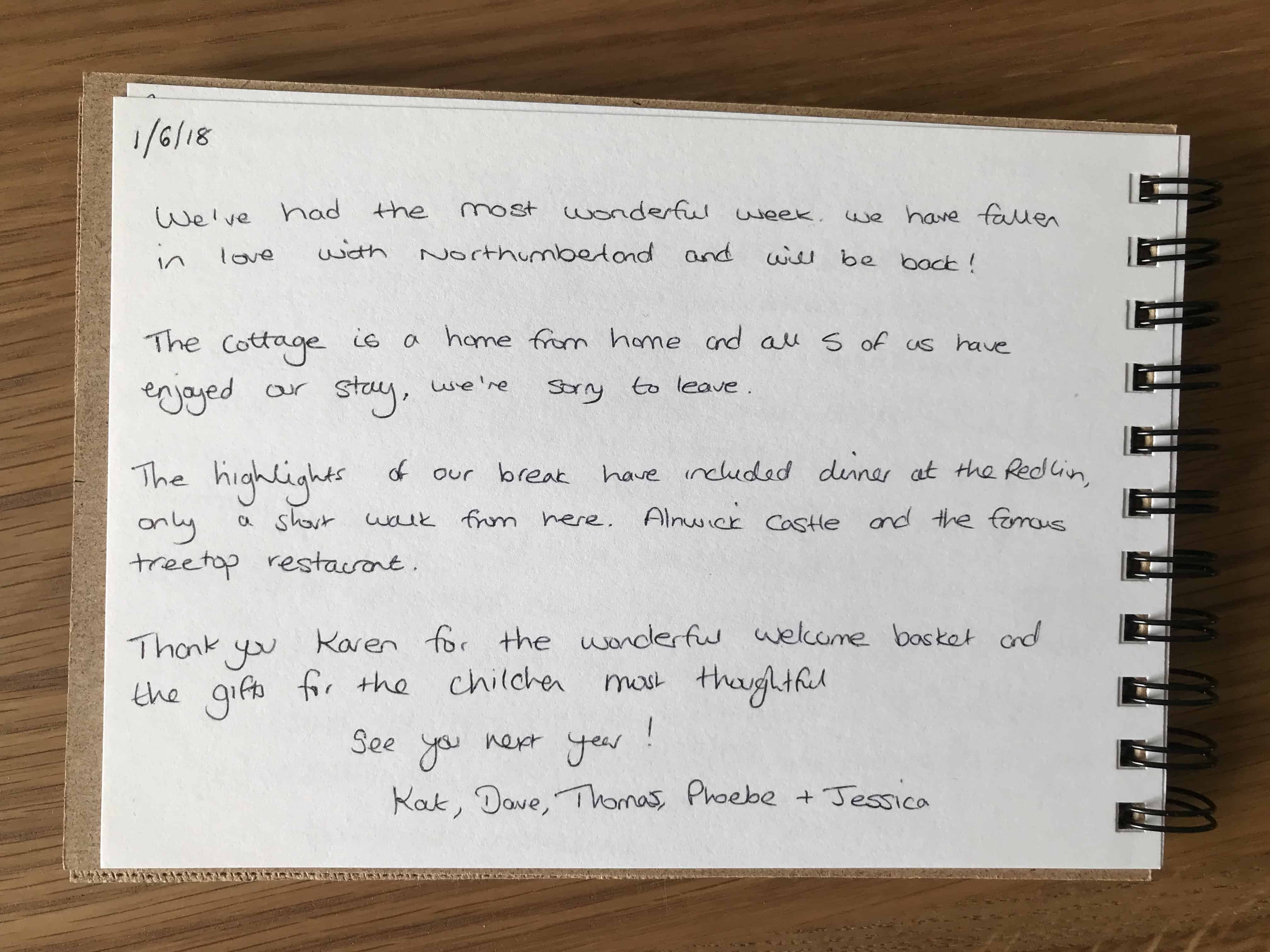 customer feedback - Karen's Kottages - Stanegate Cottage - Northumberland - dog friendly - family friendly