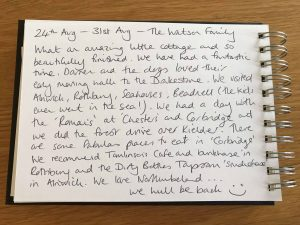 Karen's kottages Drakestone Cottage Stanegate Cottage guestbook review Northumberland holiday dog friendly
