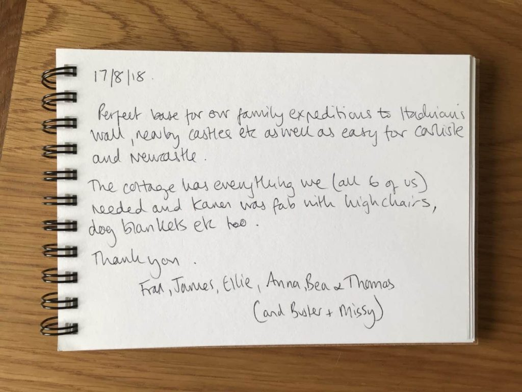 Karens kottages - Northumberland - dog friendly - customer feedback for Stanegate Cottage