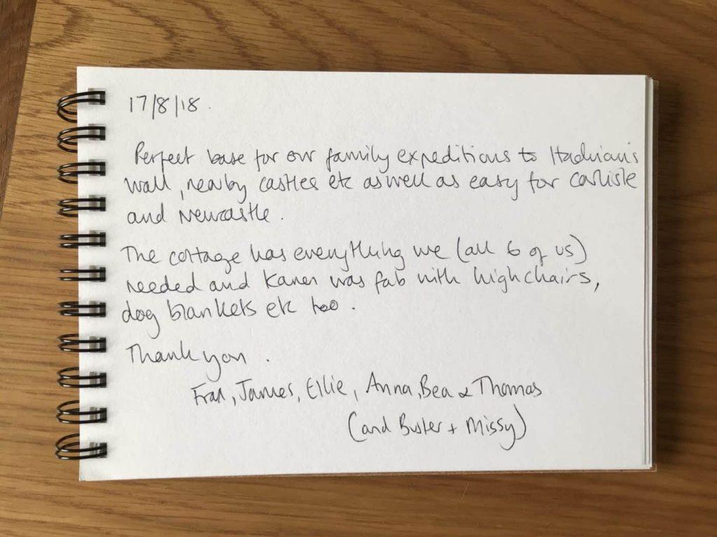 Karens kottages - Northumberland - dog friendly - customer feedback for Stanegate Cottage
