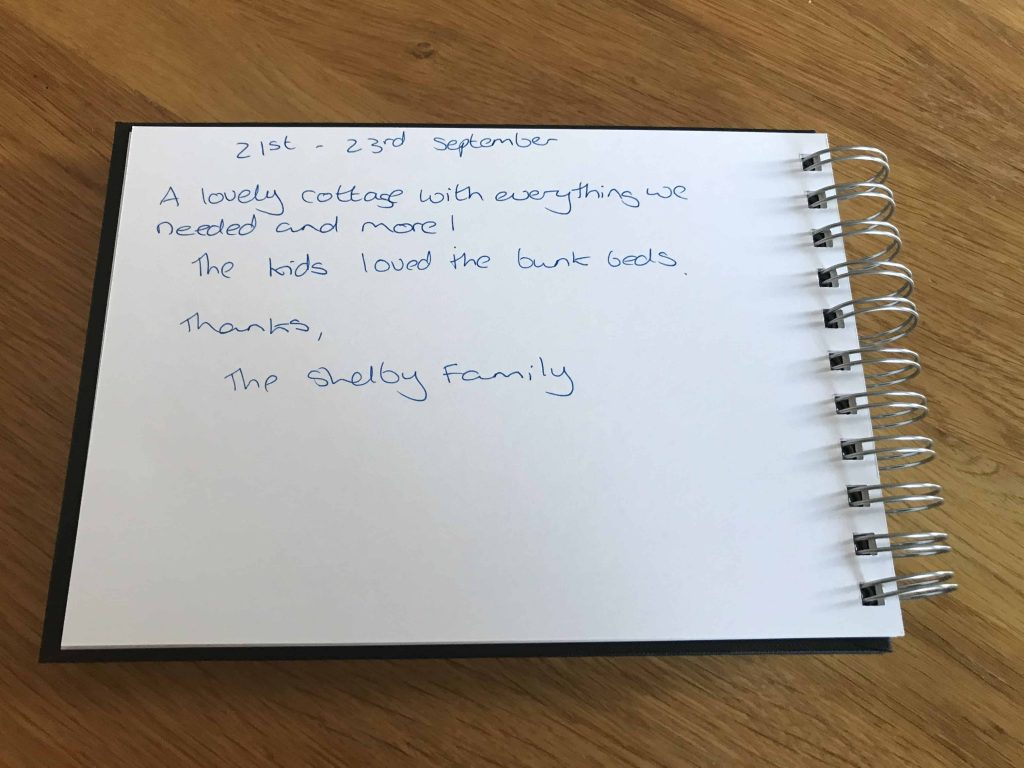 Karen's kottages northumberland customer review guestbook Drakestone Cottage Family Friendly northumberland