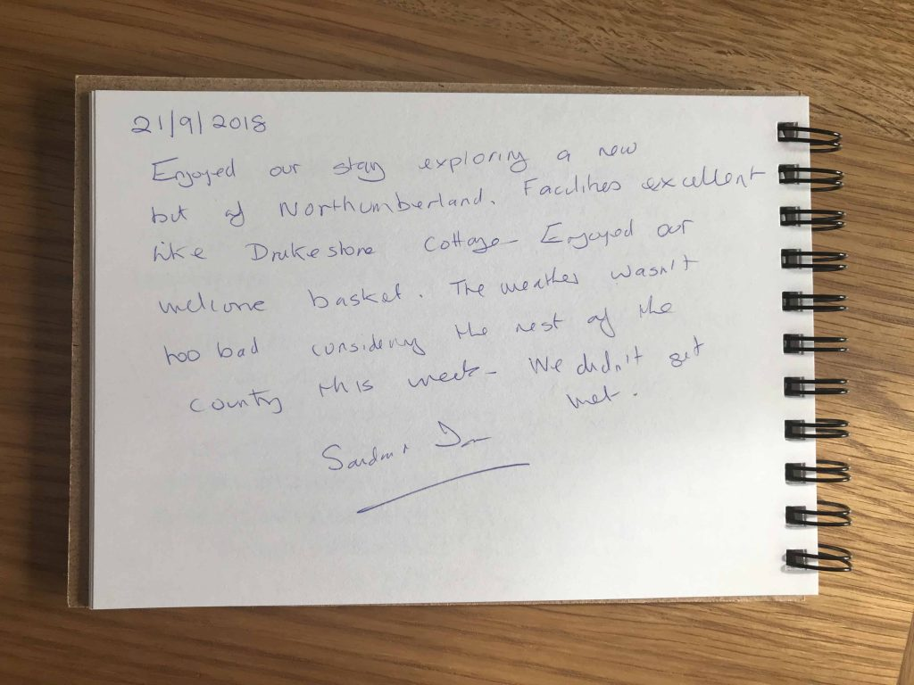 Karen's kottages northumberland customer review guest book Dogfriendly Stanegate cottage