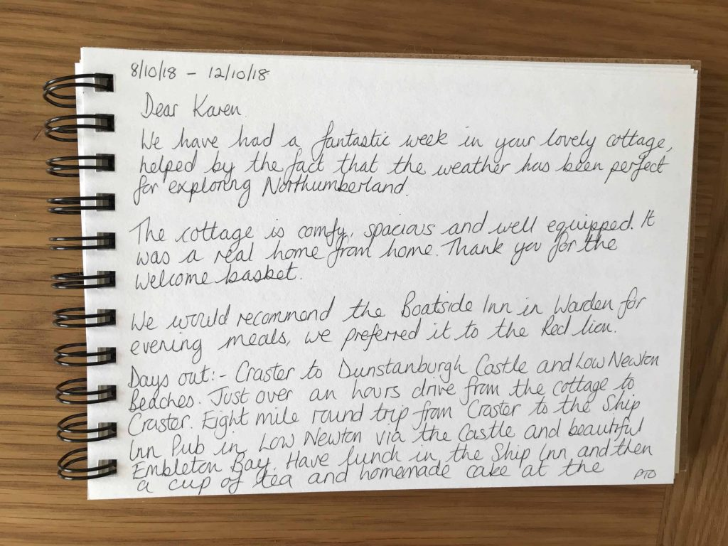 Karen's kottages Stanegate Cottage guestbook review. Near Hadrian's Wall in Northumberland. Dog friendly