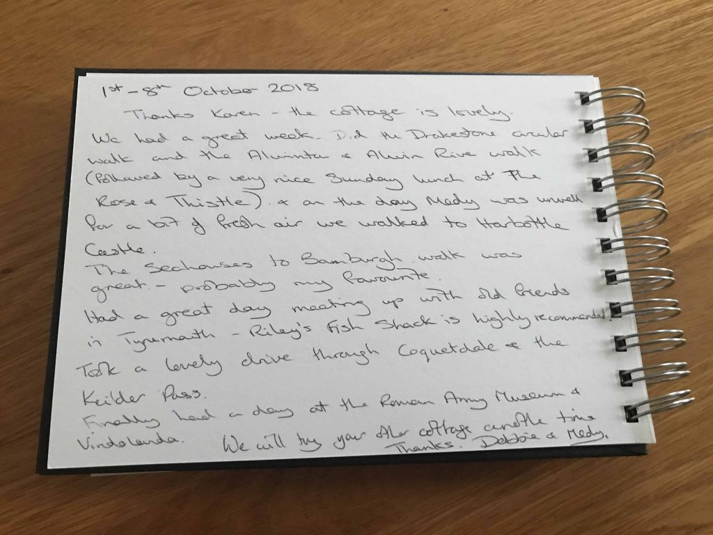 Karen's kottages - guestbook feedback - Drakestone Cottage in Northumberland