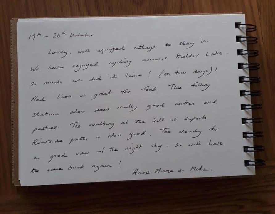 Karen's kottages guestbook review for Stanegate Cottage. Dog friendly self catering accommodation in Northumberland