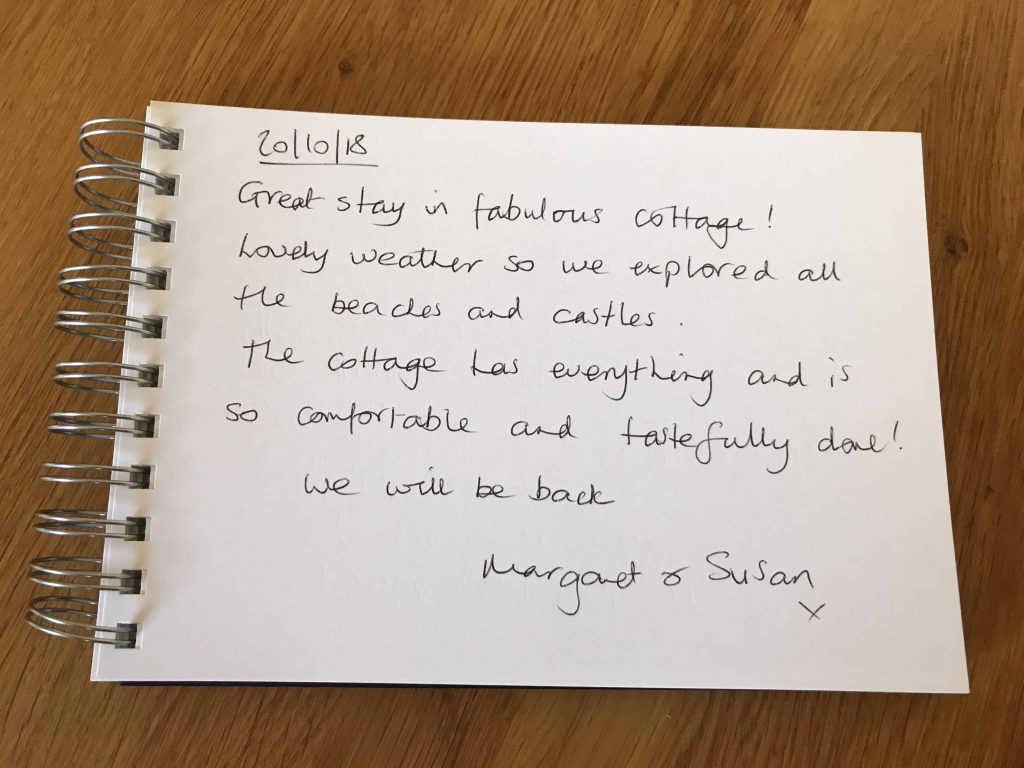 karens kottages - northumberland - self catering holiday cottages - drake stone cottage customer review