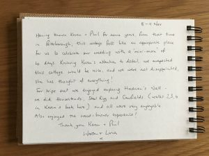 Karen's kottages guestbook feedback from Stanegate Cottage in northumberland
