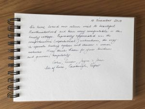 Northumberland karens kottages Stanegate Cottage guestbook review self catering holiday cottage dog friendly