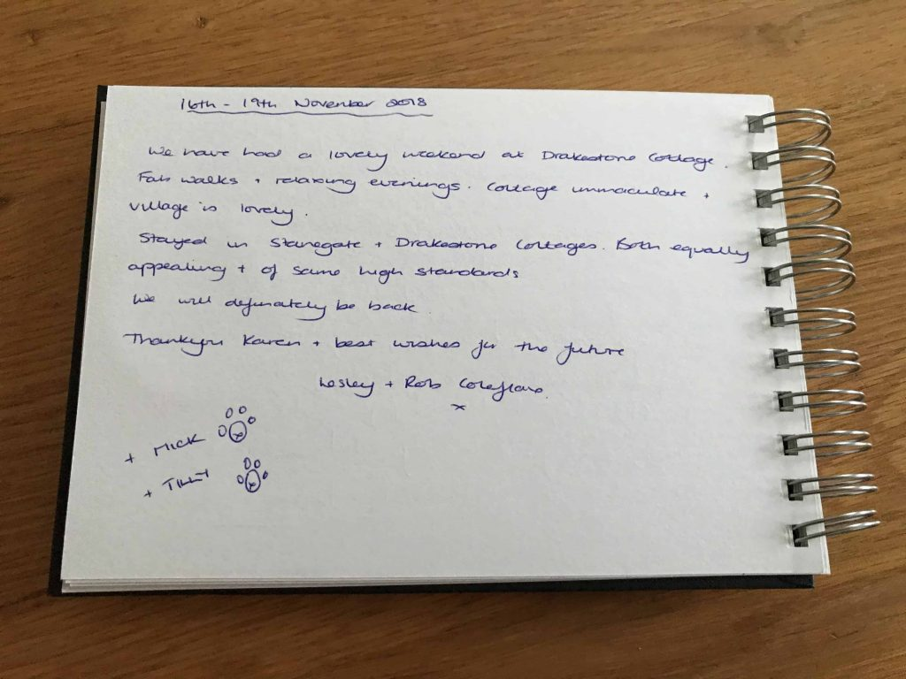 guestbook review for drakestone cottage in the northumberland national park - dog friendly self-catering holiday accommodation. karens cottages