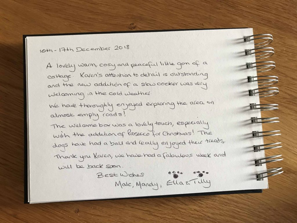 karens kottages - self catering holiday cottage accommodation in northumberland - dog friendly - guest book review for drake stone cottage near cheviot hills in the national park