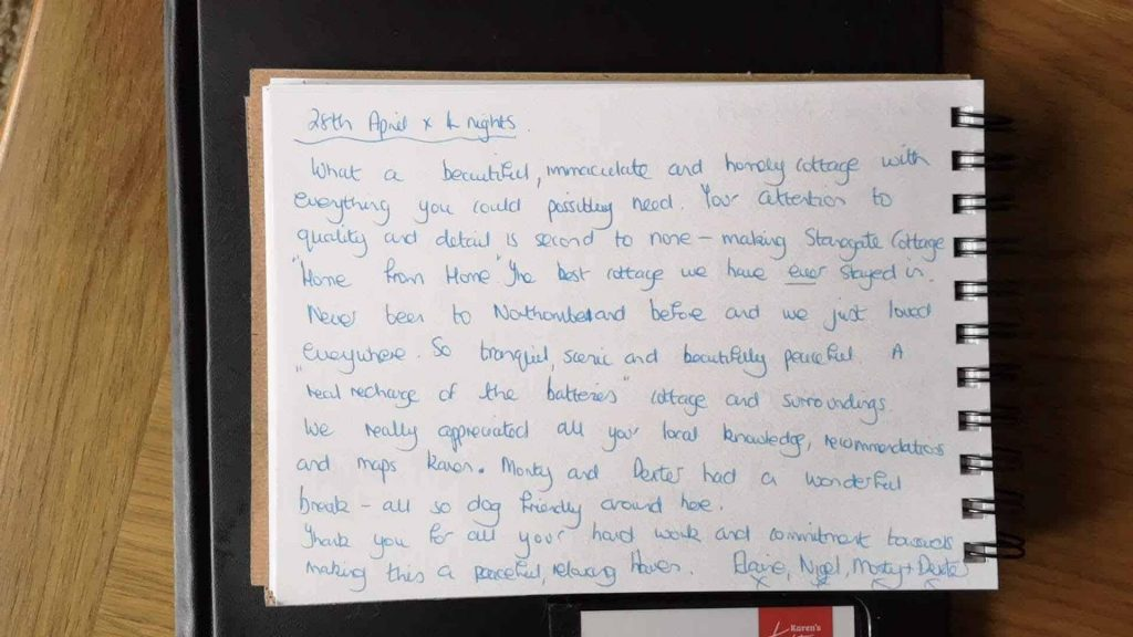 Karen's Kottages - self catering holiday cottage accommodation in Northumberland - dog friendly - Stanegate Cottage guest feedback