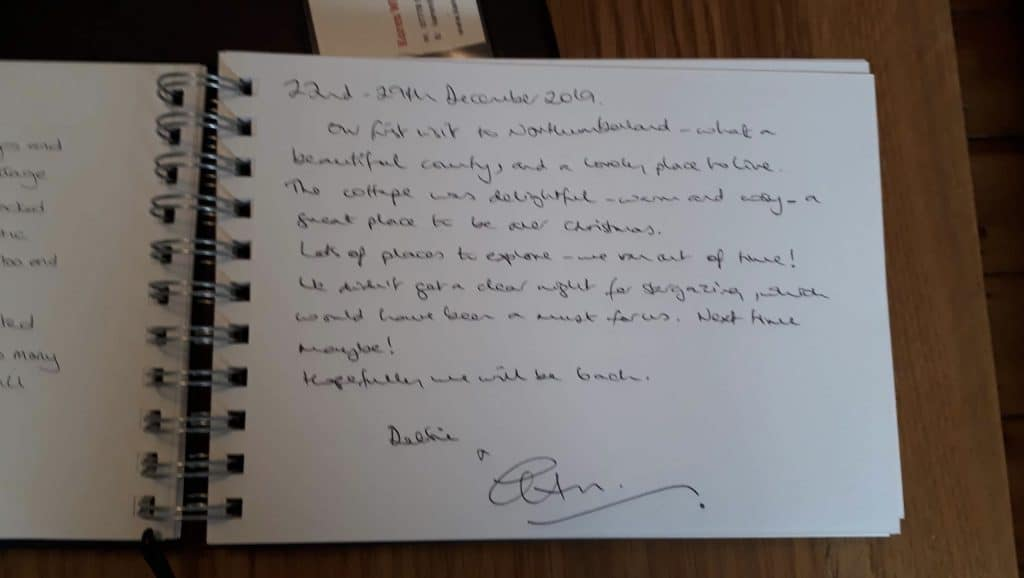 Guestbook review for Stanegate Cottage in Hexham Northumberland