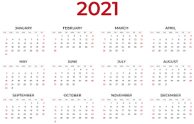 2021 booking calendar